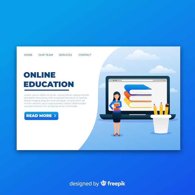 Online education landing page with illustration Free Vector