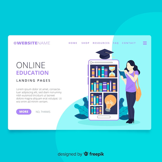 Online education landing page Free Vector