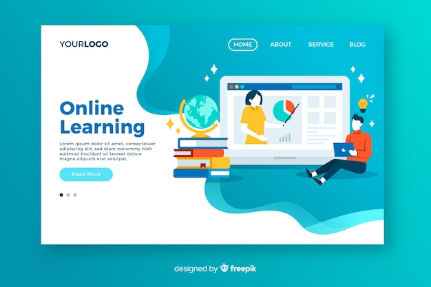 Online education landing page Vector | Free Download