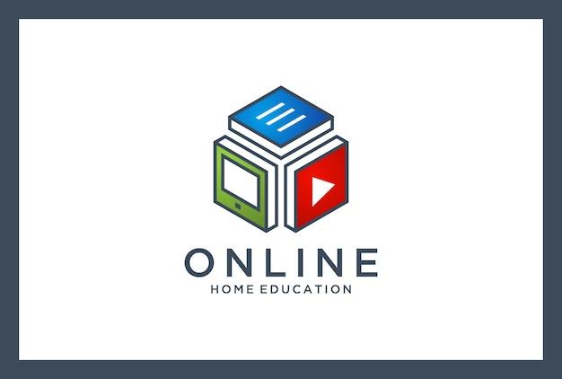 Логотип онлайн-образования. домашнее обучение. личные консультации. Premium векторы