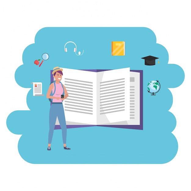 Online education millennial student open book Premium Vector