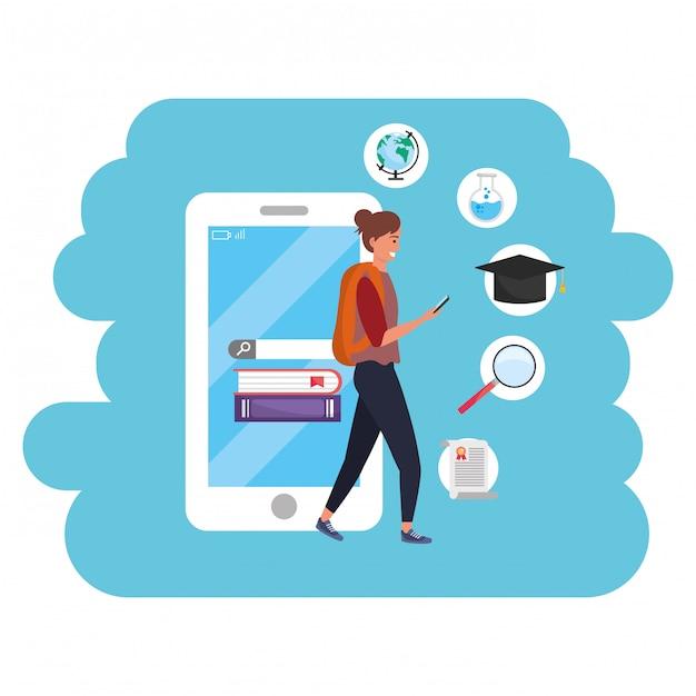Online education millennial student using smartphone Premium Vector