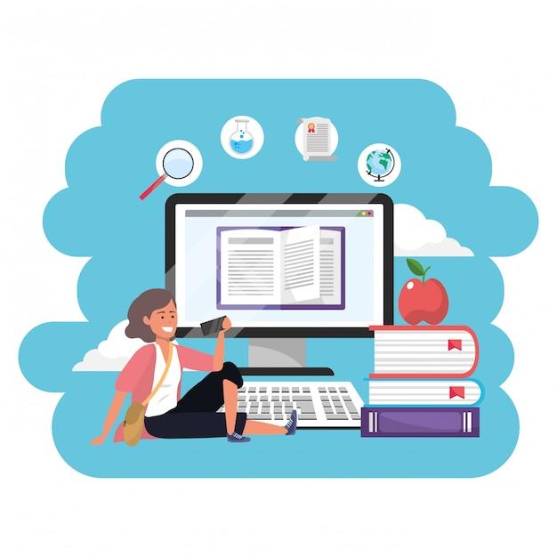 Online education millennial student Premium Vector