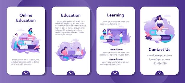 オンライン教育モバイルアプリケーションバナーセット。遠隔教育とリモートコースのアイデア。コンピューターを使用して勉強します。デジタルコース。 Premiumベクター