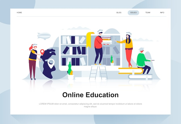 Online education modern flat design concept. Premium Vector