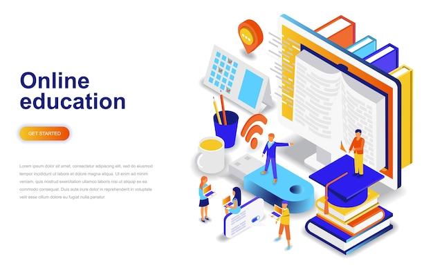 Online education modern flat design isometric concept. Premium Vector