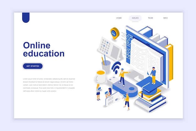 Online education modern flat design isometric concept. Premium Vector