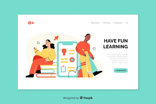 Online education modern landing page Free Vector