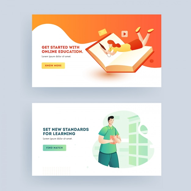 Online Education And New Standards Learning Concept Based Web Banner Design In Two Option Premium Vector