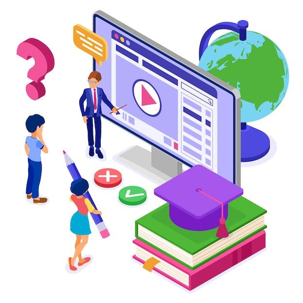 等尺性キャラクターインターネットコースeラーニングによるオンライン教育または遠隔試験 Premiumベクター