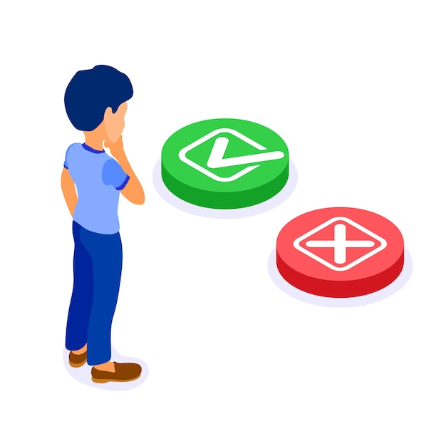 等尺性のキャラクターの男性によるオンライン教育または距離試験が選択されます。はいまたはいいえチェックマーク付きの緑色のボタンまたはクロスアイソメトリック検査付きの赤色のボタン Premiumベクター