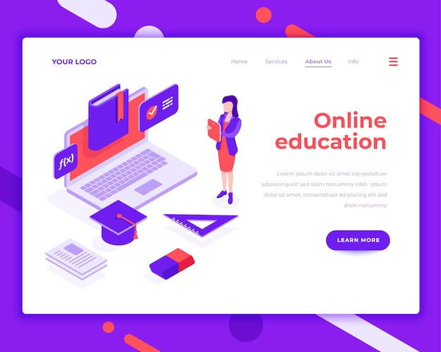 Online education people and interact with laptop isometric vector illustration Premium Vector