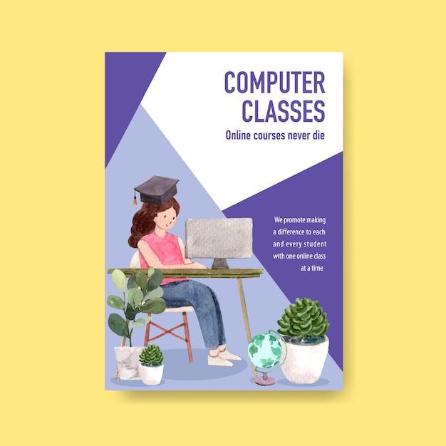 Online education poster concept desig Free Vector