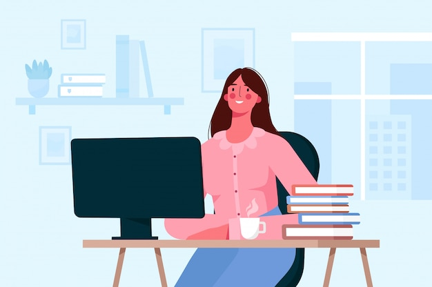 Online education or remote work concept. student learning, working online at home Premium Vector