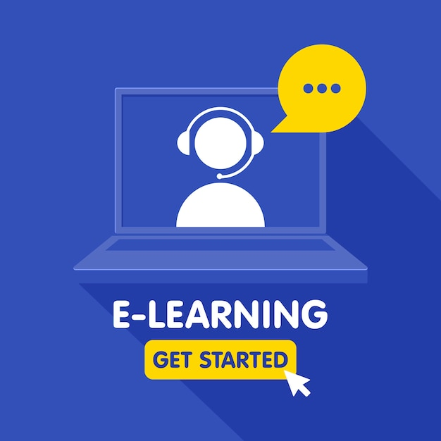 Значок ресурсов онлайн-образования, онлайн-курсы обучения, дистанционное образование, электронные учебные пособия. шаблон баннера. Premium векторы