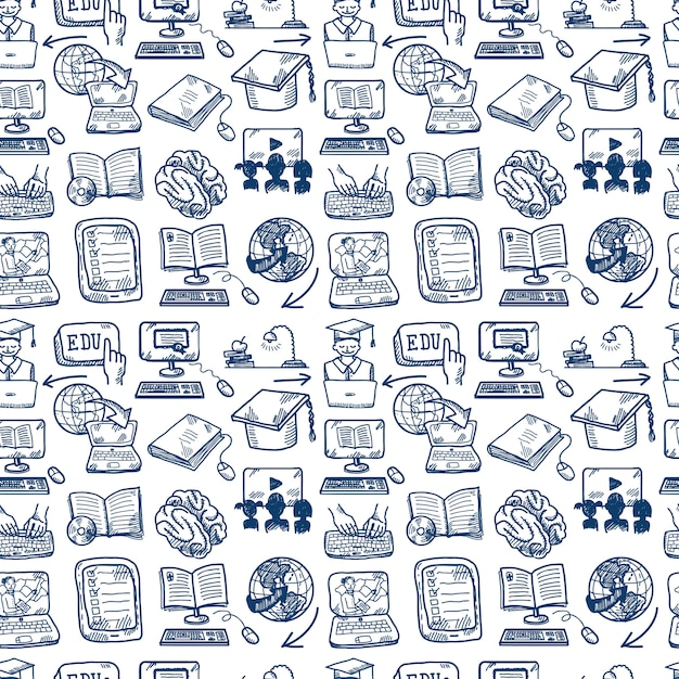 Online education seamless pattern, doodle style Free Vector