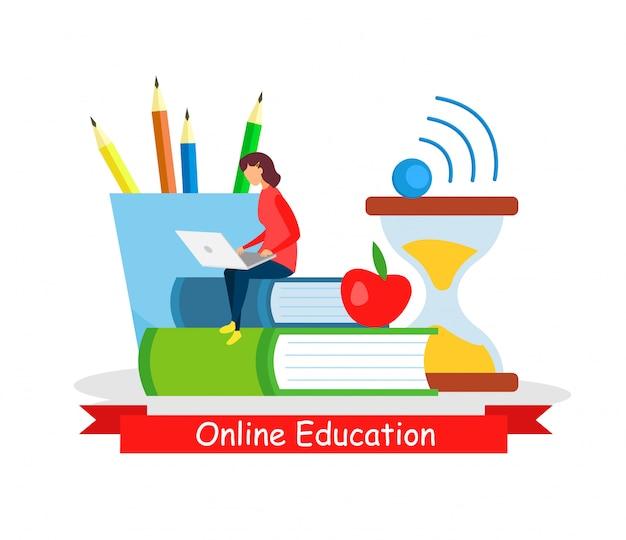 Интернет образование, самостоятельная занятость Premium векторы