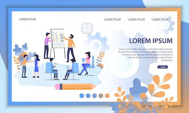 Online education service flat vector website Premium Vector