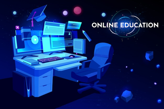 Online education student workplace with computer table, pc monitor and armchair, home working place desk, Free Vector