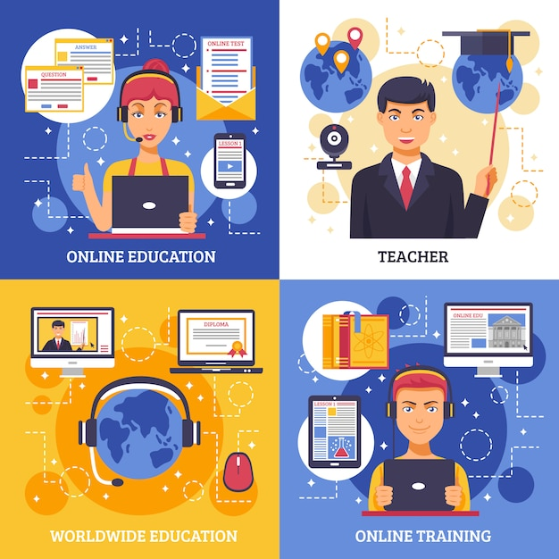 Online education training card set Free Vector