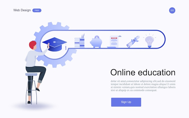 Online education, training and courses, learning. Premium Vector