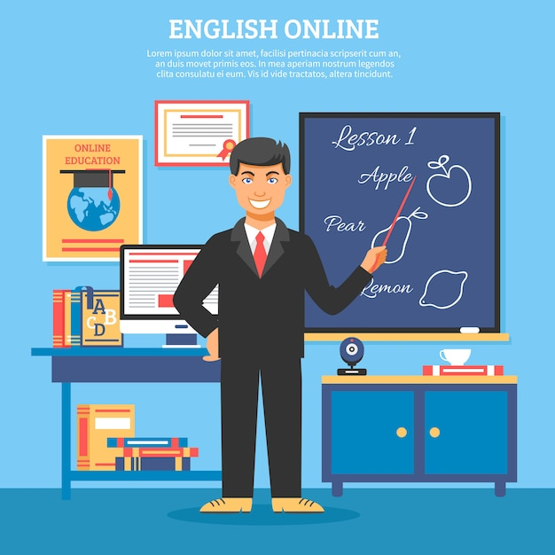 Online education training illustration Free Vector