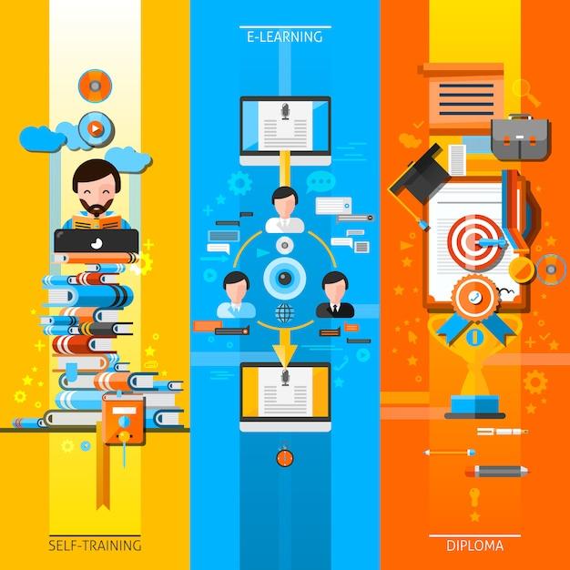 Online education vertical elements set Free Vector