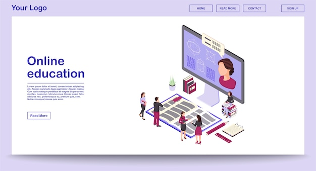 Online education webpage vector template with isometric illustration landing page Premium Vector