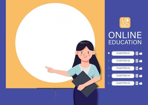 Интернет образование сайт обучения фон. приложение электронного обучения интернет. учитель персонаж, указывая на доске. Premium векторы