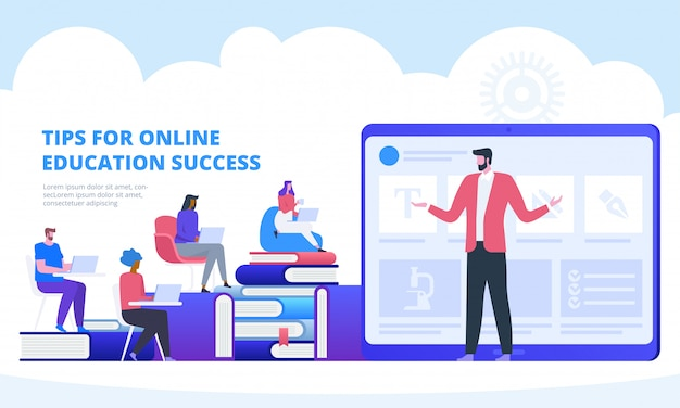 Online education with video seminar Premium Vector
