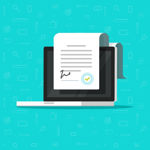 Online electronic smart contract document on laptop Premium Vector