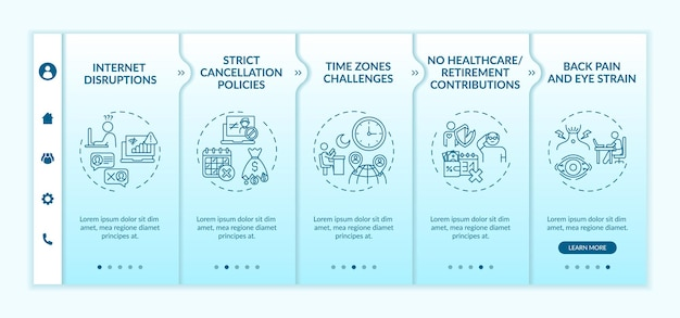 Online english teaching challenges onboarding  template. time zones challenge. back pain and eye strain. responsive mobile website with icons. webpage walkthrough step screens. rgb color concept Premium Vector