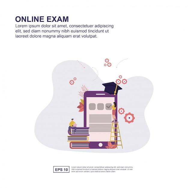 Online exam concept vector illustration flat design for presentation. Premium Vector