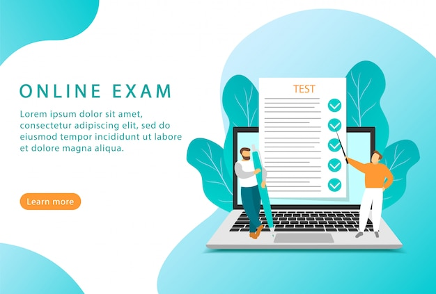 Online exam. online education and testing. flat style. landing page for web sites. Premium Vector