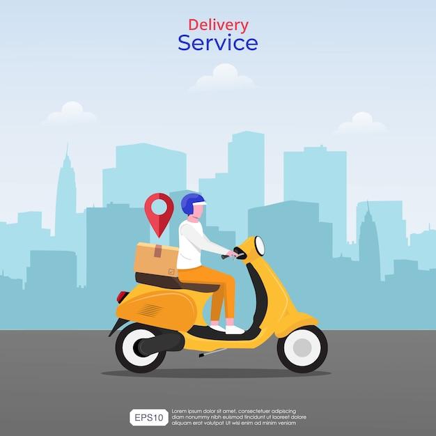 온라인 빠른 배달 서비스 개념. 노란색 스쿠터 및 탐색 아이콘 택배 남자 그림. 프리미엄 벡터