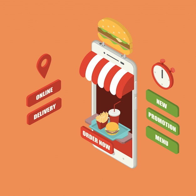 Online fast food order and delivery concept Premium Vector