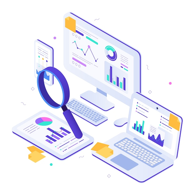 Online financial audit. isometric website metrics, statistical graphs dashboards and web seo research illustration Premium Vector