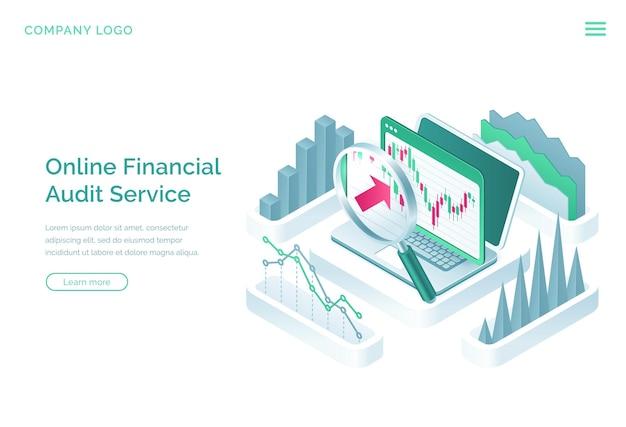 オンライン会計監査サービスのランディングページ 無料ベクター