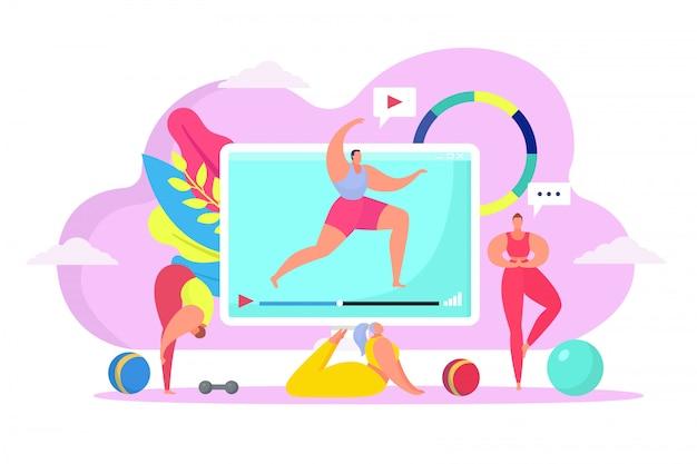 집, 일러스트에서 온라인 체력 훈련. 큰 컴퓨터 화면 비디오, 요가 포즈에 건강 운동. 여자 프리미엄 벡터