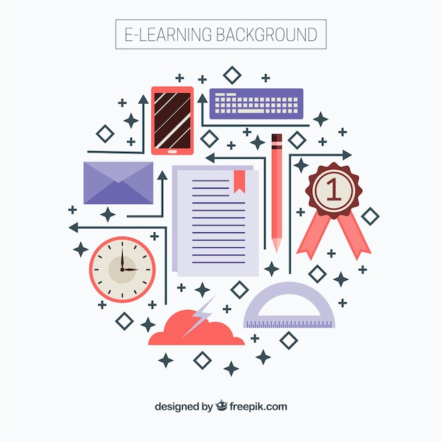 Online flat learning elements background Vector | Free ...
