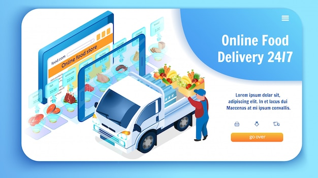 Online food delivery loading truck with groceries. Premium Vector