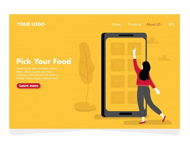 Online food illustration for landing page Premium Vector