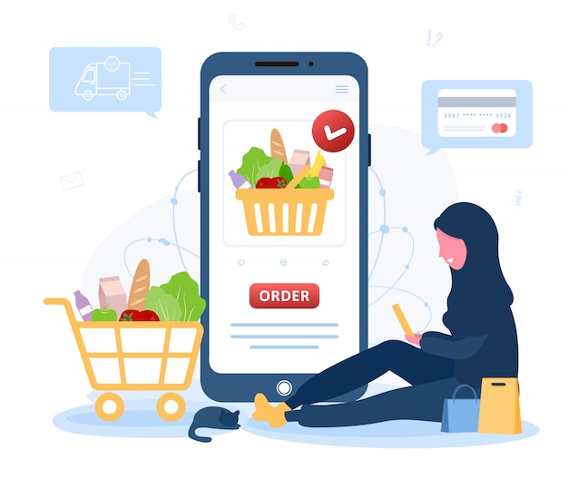 Online food order. grocery delivery. arab woman shop at an online store. the product catalog on the
