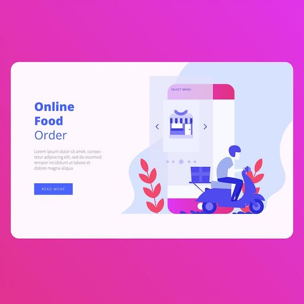 オンライン食品注文着陸ページのウェブサイトのベクターデザイン Premiumベクター