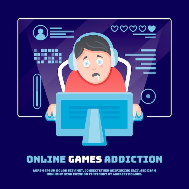 オンラインゲーム中毒のイラスト 無料ベクター