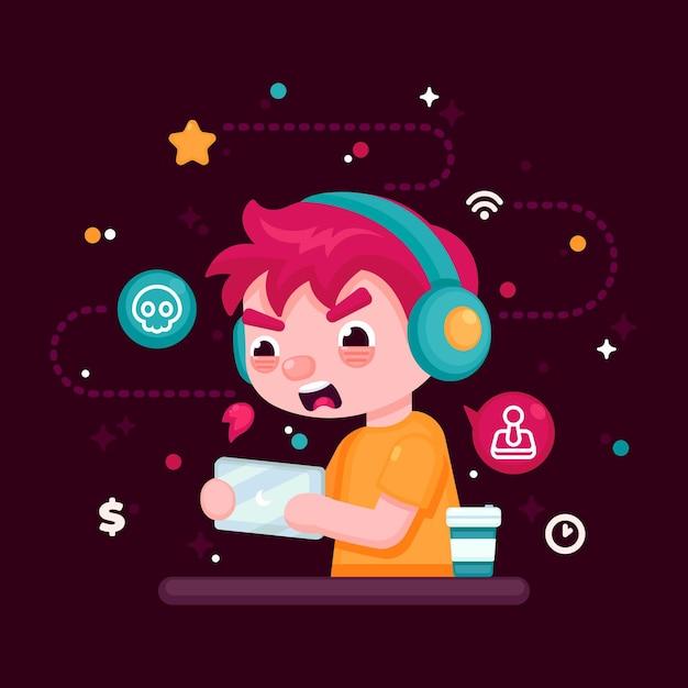 Illustrazione di dipendenza giochi online Vettore gratuito