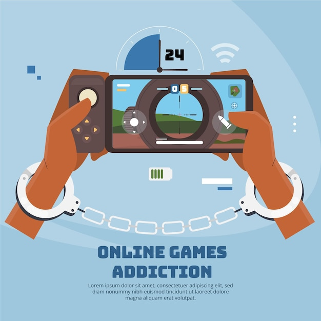 Online games addiction with handcuffs Free Vector