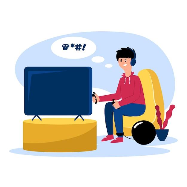 Dipendenza da giochi online Vettore gratuito