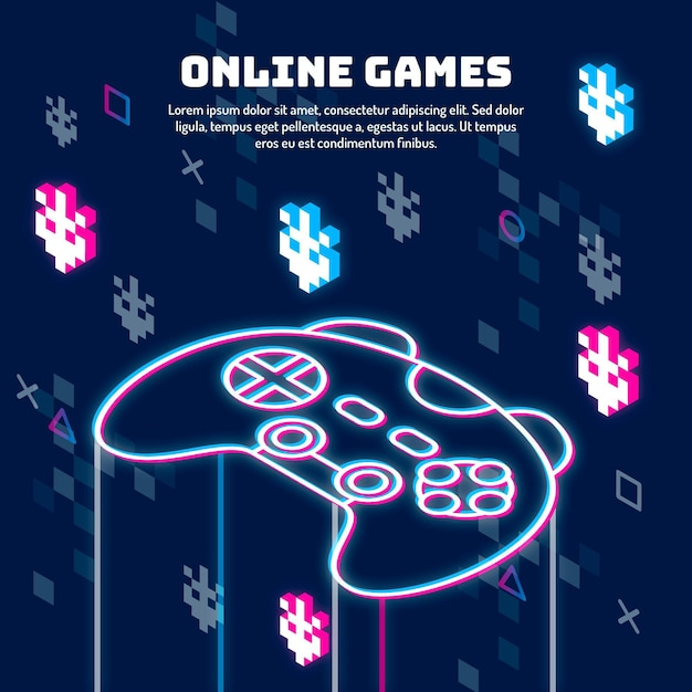Online games concept glitch illustration Free Vector