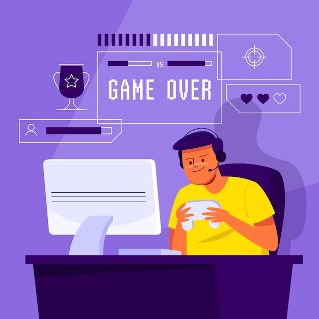 Концепция онлайн-игр проиллюстрирована Бесплатные векторы